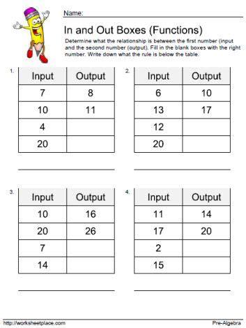input output math worksheets 4th grade kindergarten