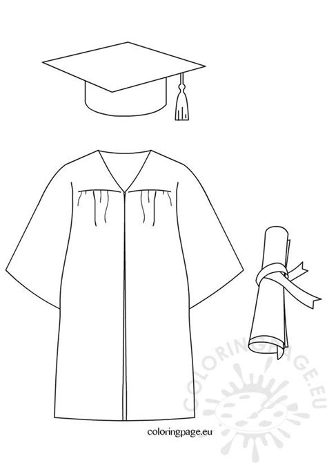 graduation cap diploma gown dress coloring page