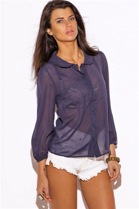 sheer chiffon blouse shop navy blue semi sheer chiffon retro blouse top