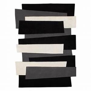 tapis en laine design pebbles noir et blanc angelo 70x140 With tapis design noir et blanc