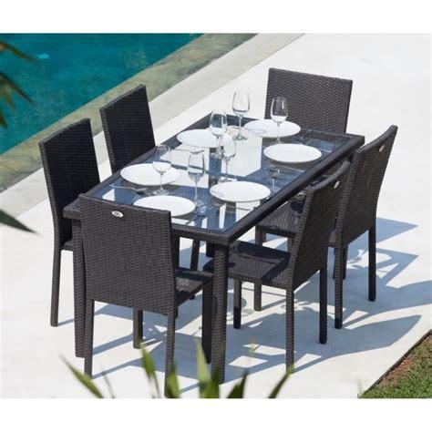 Salon De Jardin Table Et Chaises by Arcachon Ensemble Table De Jardin 6 Places Acier Et R 233 Sine