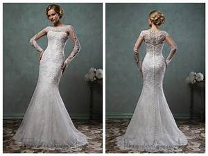 sheer lace sleeves bateau neckline fit and flare trumpet With lace fit and flare wedding dress with sleeves