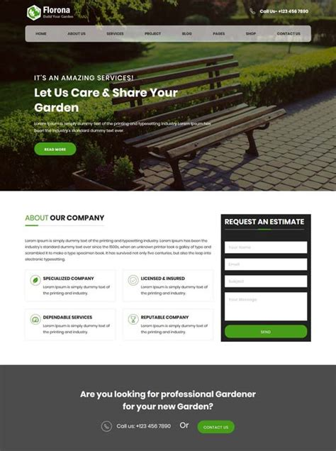 bootstrap template gardening 50 best gardening and landscaping website templates