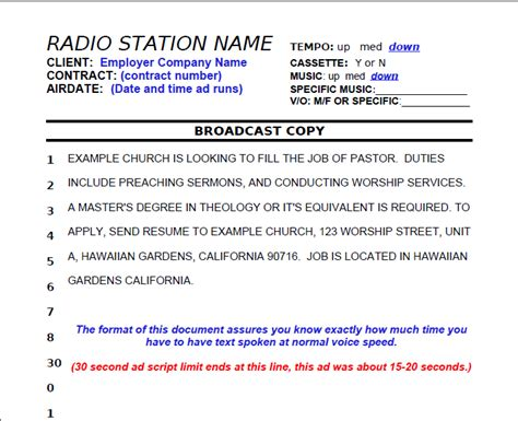 radio script template perm ads immigration advertising sle perm advertisement for labor certification recruitment