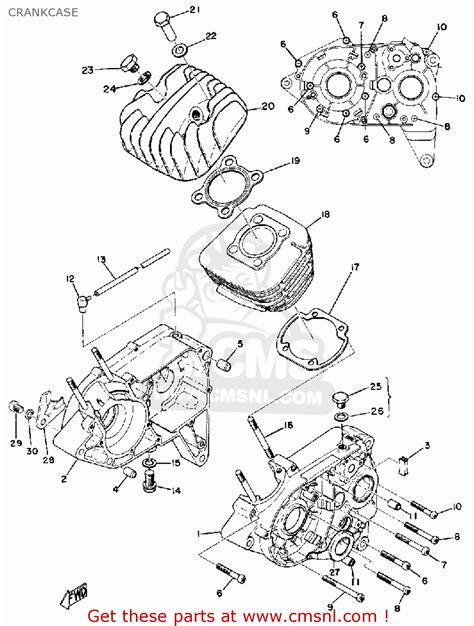 yamaha lt2 1972 1973 crankcase schematic partsfiche