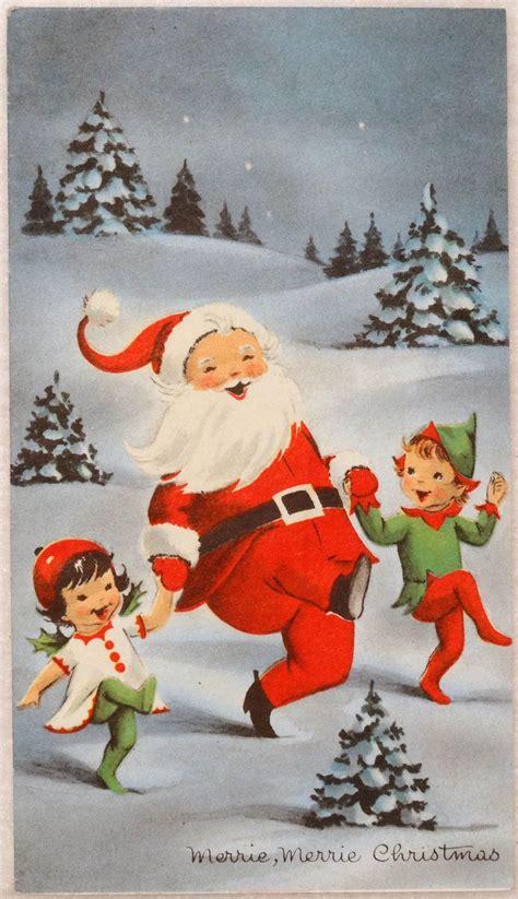 elves dance  santa vintage christmas greeting