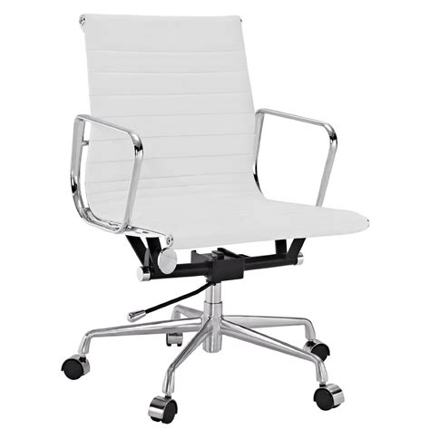 lexmod ribbed mid back office chair in white