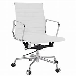 Amazoncom lexmod ribbed mid back office chair in white for Office chair genuine leather white