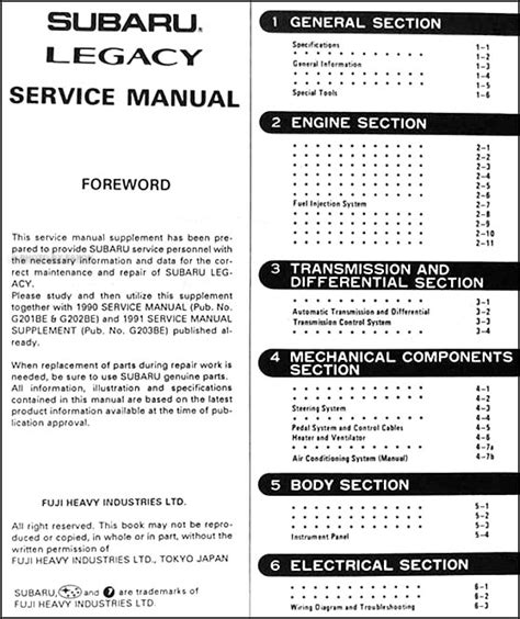 service manuals schematics 1991 subaru legacy user handbook 1991 subaru legacy rhd repair shop manual supplement original