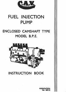 Bpe Injection Pump Workshop Manual