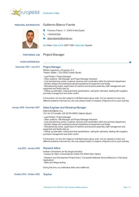 European Format Resume by Exle Of Cv European Format