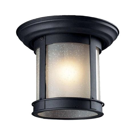 shop z lite 9 75 in w black outdoor flush mount light at