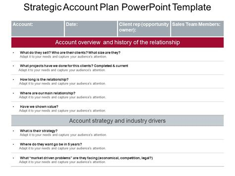 Strategic Account Planning Template by Strategic Account Plan Powerpoint Template Presentation