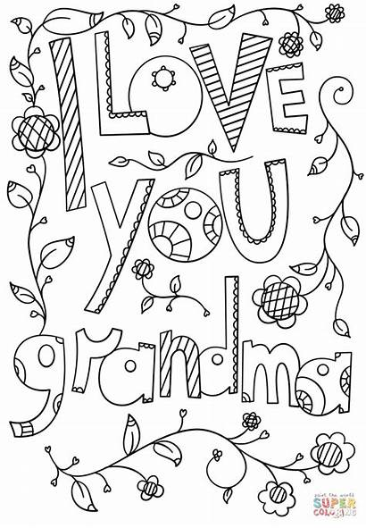 Grandma Coloring Pages Printable Doodle Sheets Happy