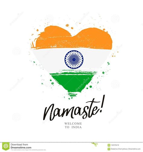 namaste flag  india   big heart stock vector