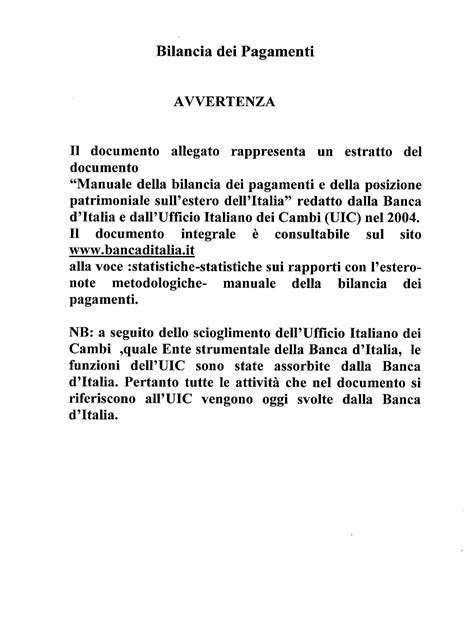 dispense economia politica manuale bilancia dei pagamenti italiana 2004 dispense