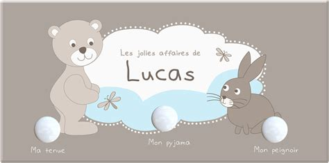 deco chambre fille princesse porte manteau bébé garçon 3 patères avec ours lapin et nuage