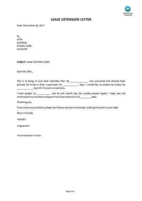 leave extension letter templates  allbusinesstemplatescom