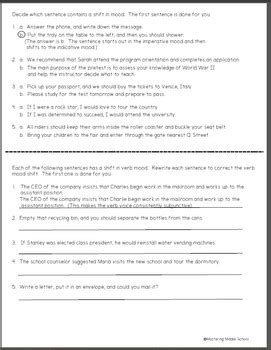 inappropriate shifts in verb mood a common worksheet tpt