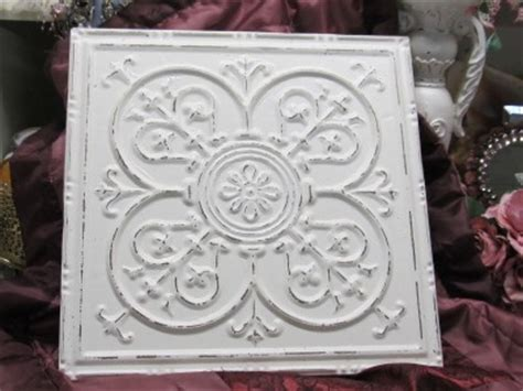 shabby chic wall tiles shabby white ceiling tile wall decor cottage chic french country ebay