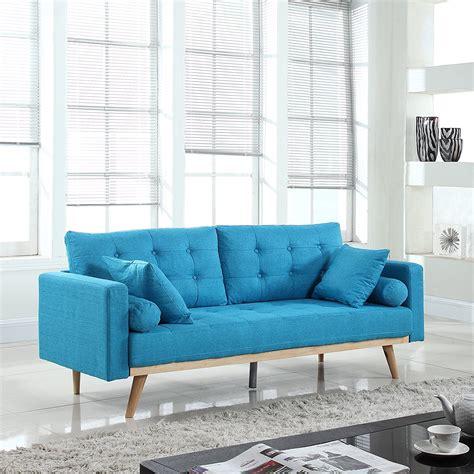 Modern Tufted Linen Fabric Sofa (light Blue) Rochester