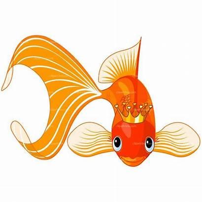 Clipart Goldfish Fish King Vector Coloring Clip