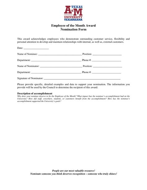 employee   month voting forms   ms word
