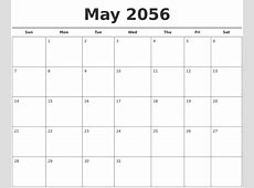 May 2056 Free Calendar Template