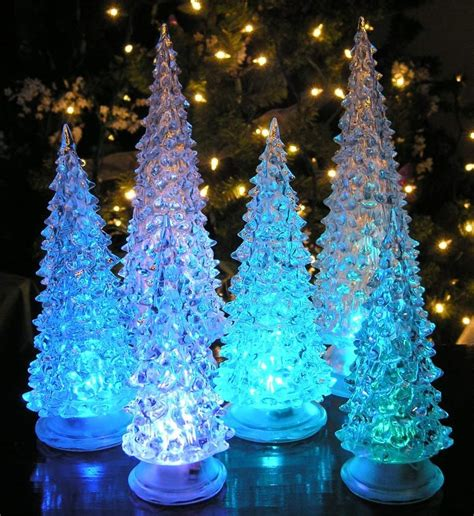 table top christmas tree in pleiglass with falling snow top 10 best table decorations 2017 heavy