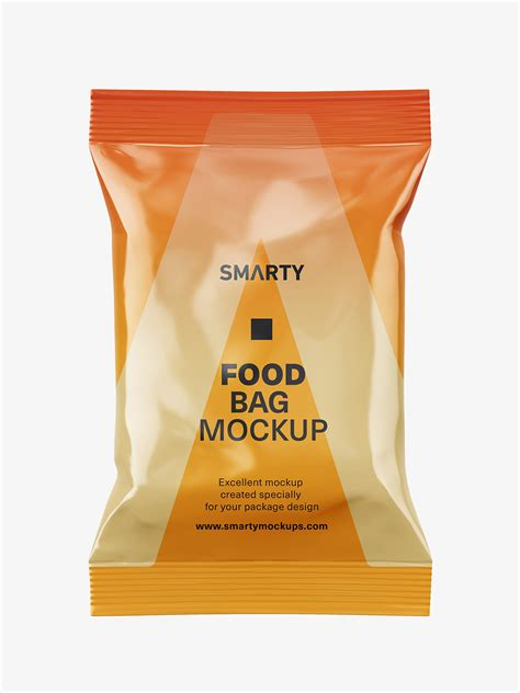 Display your logo, texts or artwork in a photo realistic way. Food pouch mockup / glossy - Smarty Mockups