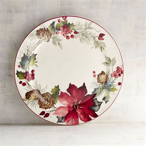 christmas plates dishes dinnerware poinsettia pier imports sets these wishes come true plate holiday dinner bestproducts decorative tableware table pier1