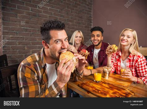People Group Eating Image And Photo Free Trial Bigstock