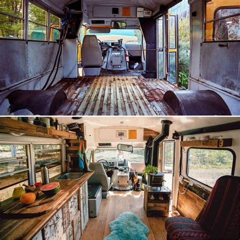 german couple converts  gmc school bus  tiny house