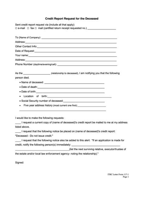 credit report request   deceased printable