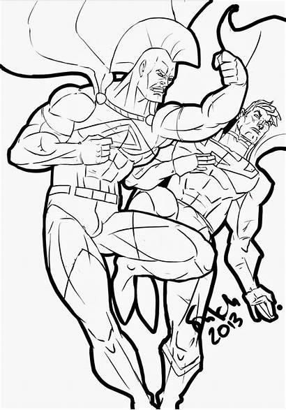 Gladiator Superman Lineart Line Hero Super Colouring