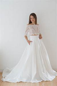 crop top wedding dress satin wedding dress lace top lace With top wedding dresses
