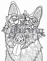 Coloring Shepherd German Labradoodle Adult Posh Printable Flower Adults Doodle Dog Dogs Puppy Mandala Colouring Crowned Getdrawings Getcolorings Hard Shepard sketch template