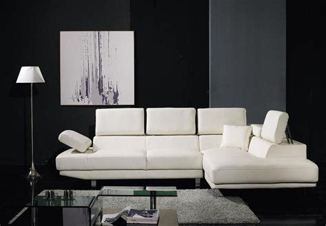 Living Room L Shaped White Leather Sofas With Fold Up