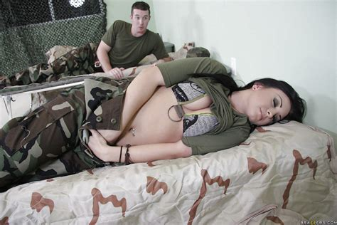 Sexy Babe In Military Uniform Jackie Daniels Got Her Slit