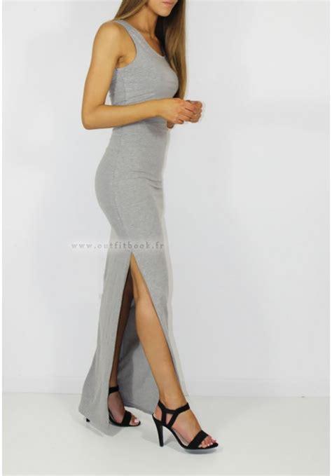 le a fente prix robe longue d 233 bardeur grise outfitbook