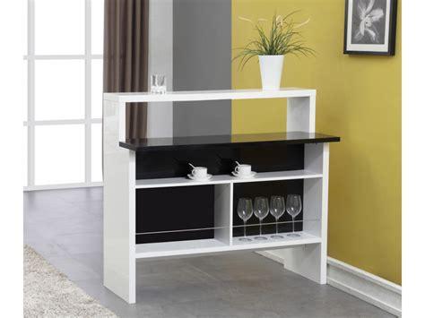 bureau noir laqué pas cher meuble de bar en mdf muni de 2 plans de travail en coloris