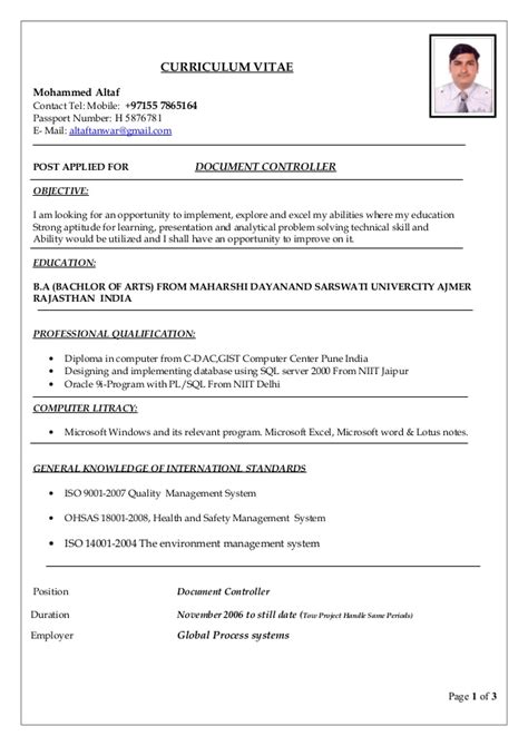 Document Controller Resume Format Gas by Document Controller Resume