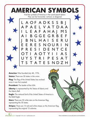 American Symbols Word Search  Worksheet Educationcom