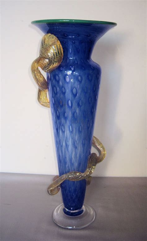 blue glass l murano overlay blue glass vase from dynastycollections on