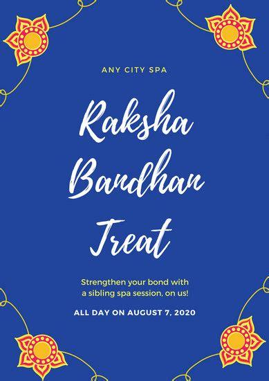 royal blue illustration raksha bandhan poster templates