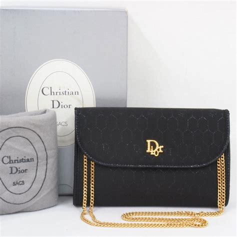 vintage christian dior monogram thin gold chain black clutch  shoulder bag ebay