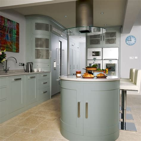 kitchen island extractor hoods extractor hood step inside this muted blue and stainless steel kitchen housetohome co uk