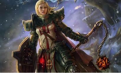 Warrior Anime Crusader Armor Diablo Shield Woman
