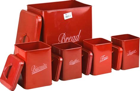 We offer a variety of styles and designs, so you're sure to find the perfect one for your kitchen. 5pc Red Metal Bread Bin Storage Canister Set Coffee Tea Sugar Biscuits Bread | eBay