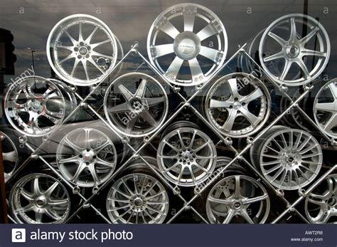 Designer Alloy Aluminium Car Wheels Stacked On A Metal